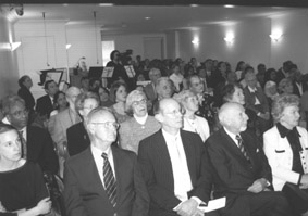 A view of the congregationL Seated in the front row are (l-r) Erin Tobin Beardon, Dhan Gopal Mukherji Jr. Gerald Gehman, Henry Kohn and Catherine Carlson