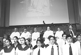 Students of Vivekananda Vidyapith performing Vedic chanting